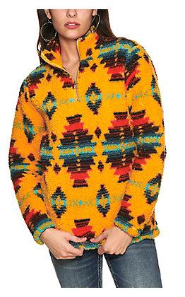 Wrangler Women's Gold Multi Aztec Print Sherpa Pullover Jacket