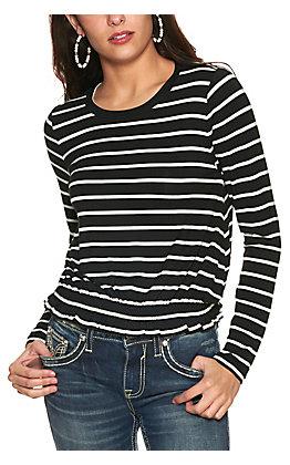 Wrangler Women's Black and White Stripe Smocked Waist Long Sleeve Knit Top