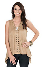 Wrangler Women's Brown Faux Suede with Lace Up Front Sleeveless Fashion Top