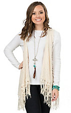 Wrangler Women's Cream Sweater Knit with Crochet Fringe Vest