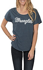 Wrangler Women's Blue and White Logo Casual Knit Tee