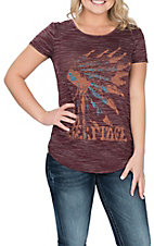 Wrangler Women's Burgundy and Brown Indian Headdress Graphic S/S Casual Knit Shirt