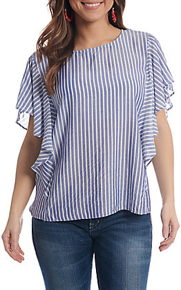 Wrangler Women's Blue And White Vertical Striped Ruffle Short Sleeve Top