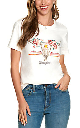 Wrangler Retro Women's White with Floral Cow Skull Graphic Short Sleeve T-shirt