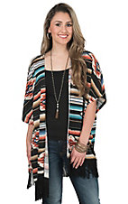 Wrangler Men's Black Multicolor Aztec Print with Black Fringe Short Sleeve Cardigan
