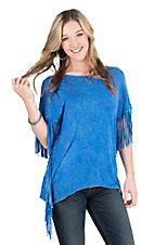 Wrangler Women's Blue with Fringe Sides Short Sleeve Casual Knit Shirt