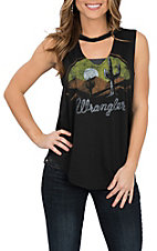 Wrangler Women's Black Cactus Screen Print Sleeveless Casual Knit Shirt