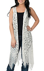 Wrangler Women's Cream Sleevless Crochet Duster Kimono