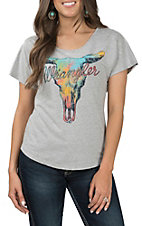Wrangler Women's Charcoal Grey Skull T-Shirt