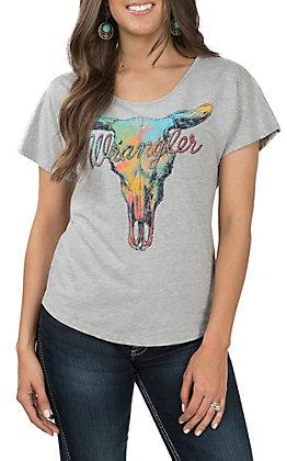 Wrangler Women's Charcoal Grey Skull T-Shirt