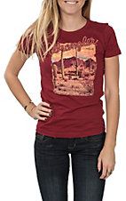 Wrangler Women's Wine Western Screen Print T-Shirt