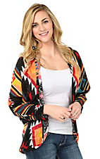 Wrangler Women's Black, Red, Yellow, and Navy Aztec Kimono Sleeve Cardigan