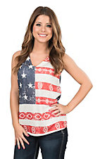 Wrangler Women's American Flag Print Sleeveless Fashion Top
