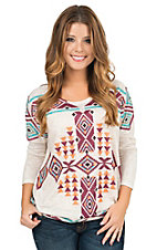 Wrangler Women's Natural with Warm Toned Aztec Print 3/4 Dolman Sleeve Tunic