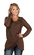 Wrangler Women's Brown Fringe Long Sleeve Fashion Top & Cardigan