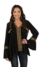 Wrangler Women's Black Long Sleeve Embroidered Peasant Fashion Top