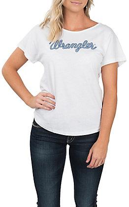 Wrangler Women's Ivory Blue Logo T-Shirt