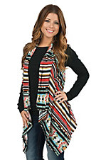 Wrangler Women's Red Multicolor Aztec Print Sweater Vest
