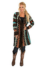 Wrangler Women's Turquoise and Rust Aztec Print Long Sleeve Sweater Cardigan