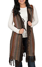 Wrangler Women's Brown Print Sweater Duster