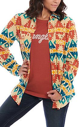 Wrangler Women's Cream Multi Aztec Print Fleece Shirt Jacket