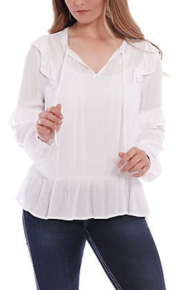 Wrangler Women's White Ruffle Long Sleeve Peasant Fashion Top