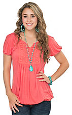 Wrangler Women's Coral Knit with Crochet Front Short Sleeve Top