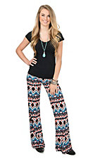Wrangler Women's Black & Blue Multicolor Diamond Print Palazzo Pant