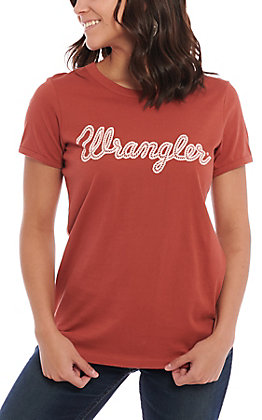 Wrangler Women's Rust Rope Logo Short Sleeve Shirt