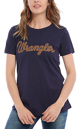Wrangler Retro Women's Navy Rope Logo Short Sleeve T-Shirt