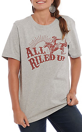 Wrangler Retro Women's Grey All Riled Up Short Sleeve T-Shirt