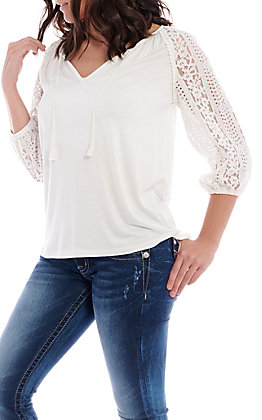Wrangler Women's White Lace Crochet 3/4 Sleeve Fashion Top