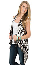 Wrangler Women's White & Chocolate Aztec Sweater Vest