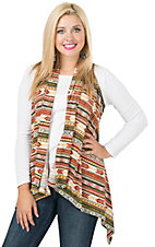 Wrangler Women's Green & Rust Aztec Print Sweater Vest