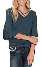 Wrangler Women's Criss Cross Neck with a Ruffle Sleeve Fashion Top