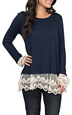 Wrangler Women's Navy Knit with Cream Lace Trim Long Sleeve Fashion Top