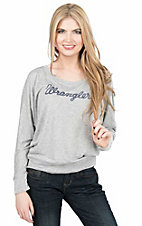 Wrangler Women's Heather Grey with Navy Logo Long Sleeve Dolman Causal Knit Tee