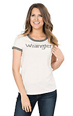 Wrangler Women's White with Grey Logo Screen Print Short Sleeve Casual Knit Top