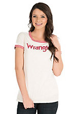 Wrangler Women's White with Red Logo Short Sleeve Casual Knit Shirt