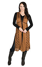 Wrangler Women's Brown Faux Suede Laser Cut Duster Vest