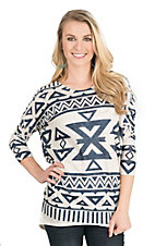 Wrangler Women's Cream and Navy Aztec Print 3/4 Sleeve Sweater