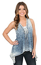 Wrangler Women's Blue Mineral Wash with Lace Up Front Sleeveless Fashion Top