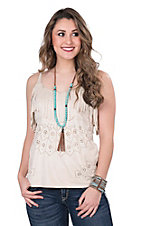 Wrangler Women's Cream Faux Suede with Fringe and Laser Cut Outs Sleeveless Fashion Top