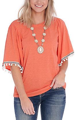 Wrangler Retro Women's Orange with White Pom Poms Flutter Sleeves Knit Fashion Top