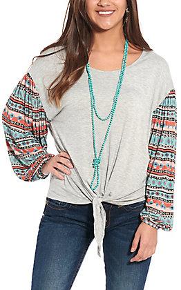 Wrangler Women's Grey Aztec Print Long Sleeve Fashion Top