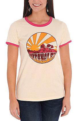 Wrangler Retro Women's Cream and Pink Desert Sunset Graphic Tee