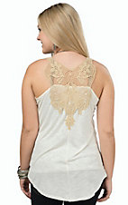 Wrangler Women's Cream Tank with Tan Crochet Top