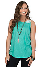 Wrangler Women's Turquoise Tank with Crochet Top