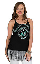 Wrangler Women's Black with Aztec Screenprint & Fringe Racer Back Tank