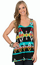Wrangler Women's Black Aztec Print Tank Top